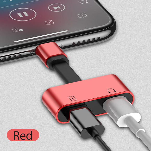 2 in 1 iPhone Lightning Adapter Splitter for Charger and Headphone