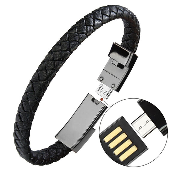 Leather Bracelet with Micro USB Data Charging Cable for iPhone and Type-C