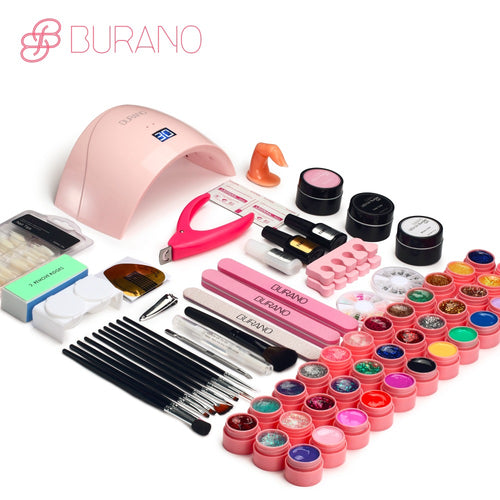 Burano Professional Gel Nail Kit - 36 Colours and UV/LED Nail Lamp