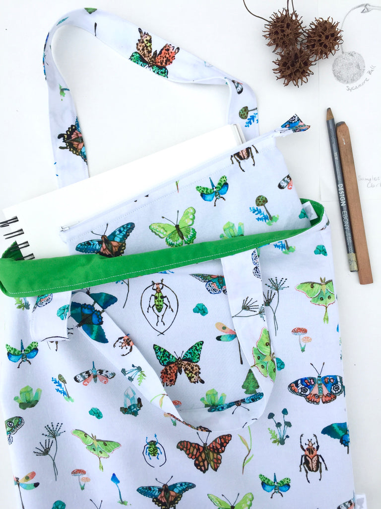 butterflies and bugs tote and zipper pouch