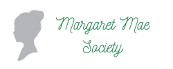 silhouette of girl with a messy bun in grey, Margaret Mae Society