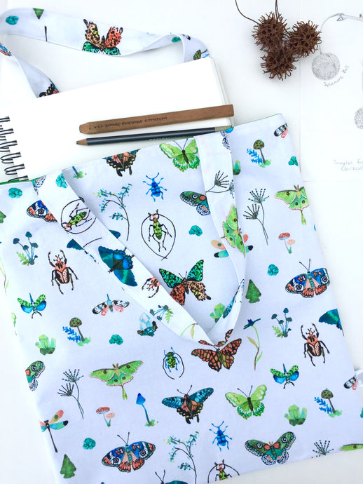 butterflies and bugs tote