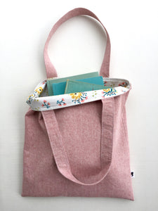 linen tote in berry with flowers