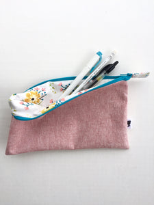 pencil pouch in berry with flowers