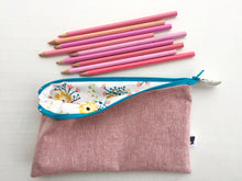 Load image into Gallery viewer, pencil pouch in berry with flowers