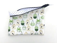 Load image into Gallery viewer, hanging plants and birdcages large zipper pouch