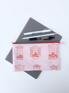 pink window box zipper pouch