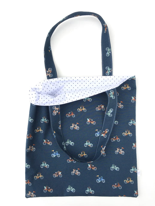 bicycles on navy tote