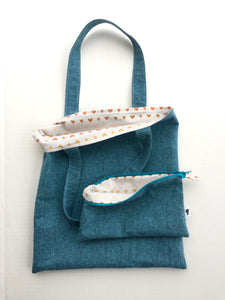 linen tote in teal with hearts