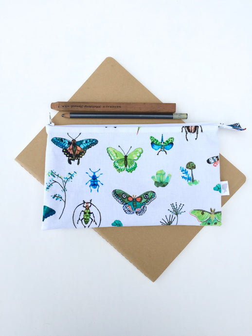 butterflies and bugs zipper pouch