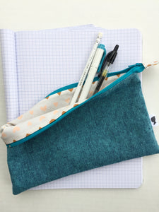 pencil pouch in teal with hearts