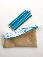 Load image into Gallery viewer, pencil pouch in straw with teal pintuck