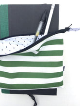 Load image into Gallery viewer, green stripe mini zipper pouch