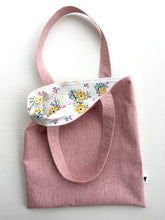 Load image into Gallery viewer, linen tote in berry with flowers