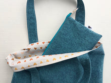 Load image into Gallery viewer, pencil pouch in teal with hearts