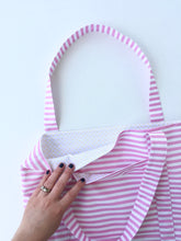Load image into Gallery viewer, begonia stripe tote