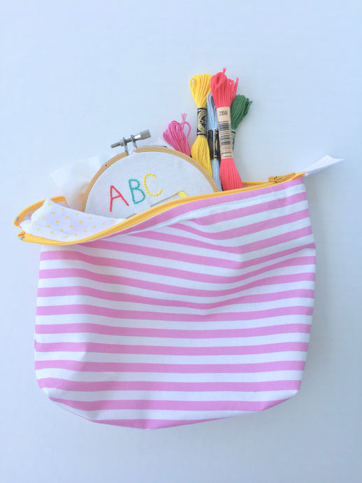 begonia stripe zipper pouch