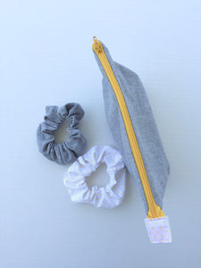 grey linen scrunchies