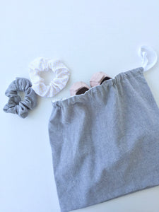 grey linen drawstring bag