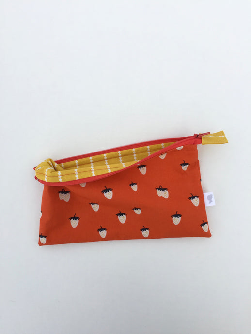 strawberry zipper pouch