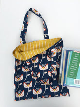 Load image into Gallery viewer, bold flower on navy library tote
