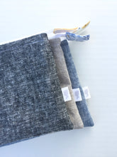 Load image into Gallery viewer, linen zipper pouch in washed black