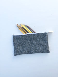 linen zipper pouch in washed black