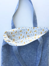 Load image into Gallery viewer, Margaret Mae Society. washed blue linen book tote lined in snail cotton print