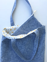 Load image into Gallery viewer, Margaret Mae Society. washed blue linen lined in snail cotton print