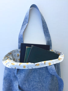 linen book tote in washed blue