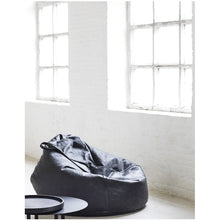 Load image into Gallery viewer, Black Leather Bean Bag
