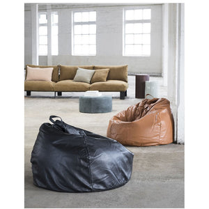 Black Leather Bean Bag