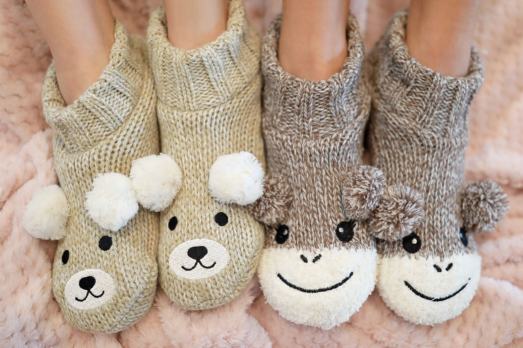 Why Wear Slippers at Home? Image of Fuzzy Babba Critter Slippers and Slipper Socks