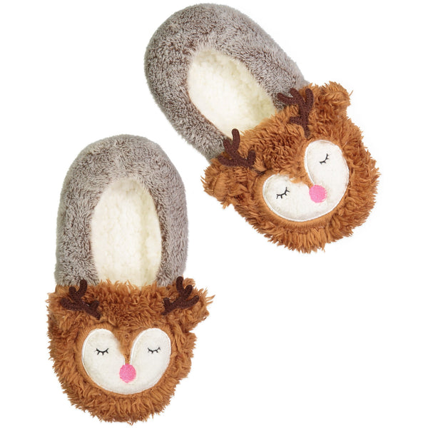Women's Red Nosed Reindeer Slipper Socks