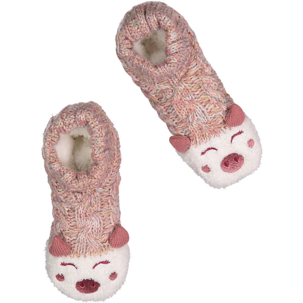 Women's Cozy Knit Slipper Socks with Piggy Face