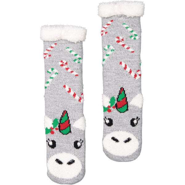Women's Festive Unicorn Holiday Slipper Socks