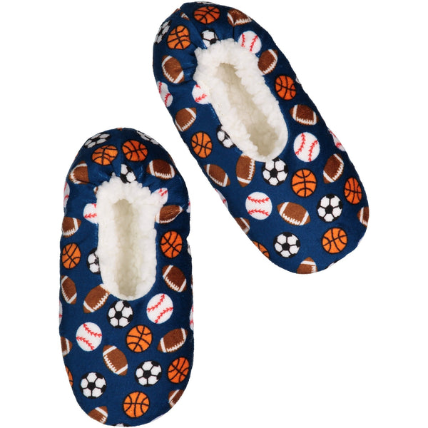 Kids Sports Print Slipper Socks