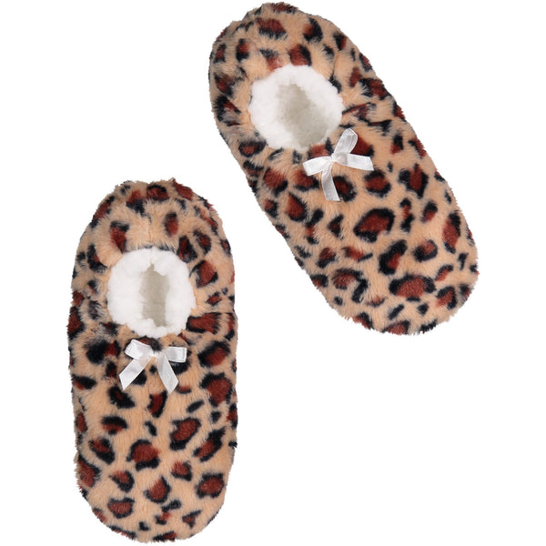 Women's Super Plush Slipper Socks with Leopard Print