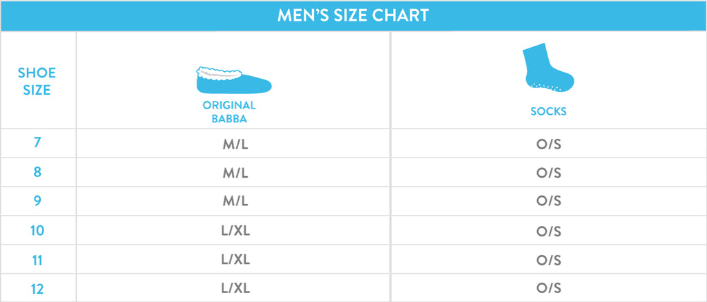 Size Chart for Men, Fuzzy Babba