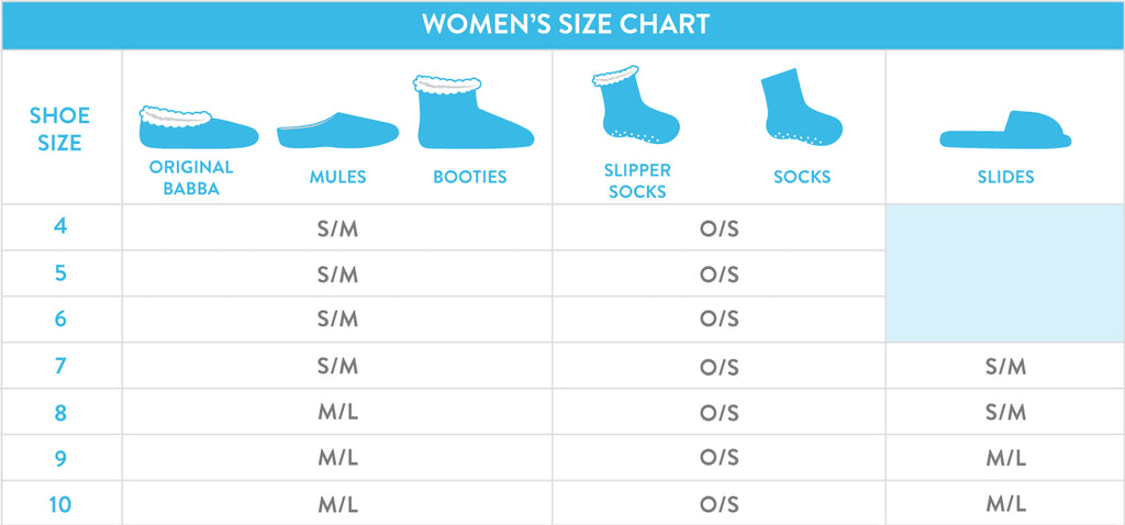 Size Chart for Women, Fuzzy Babba
