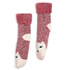 Women's Peach Fox Recliner Slipper Sock - Fuzzy Babba