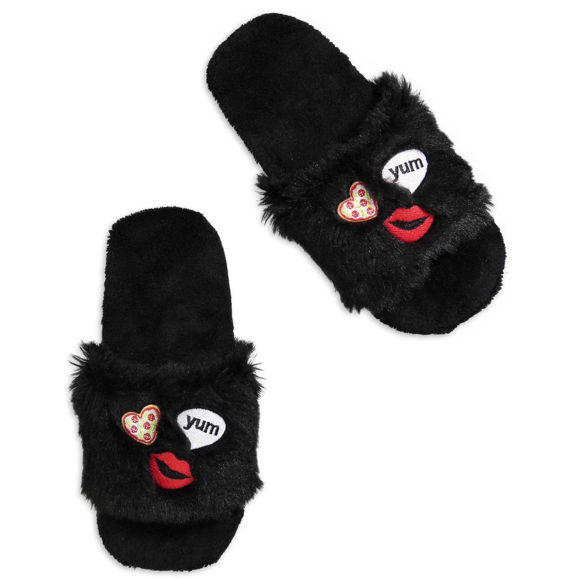 Women's Funky Emoji Fluffy Slides