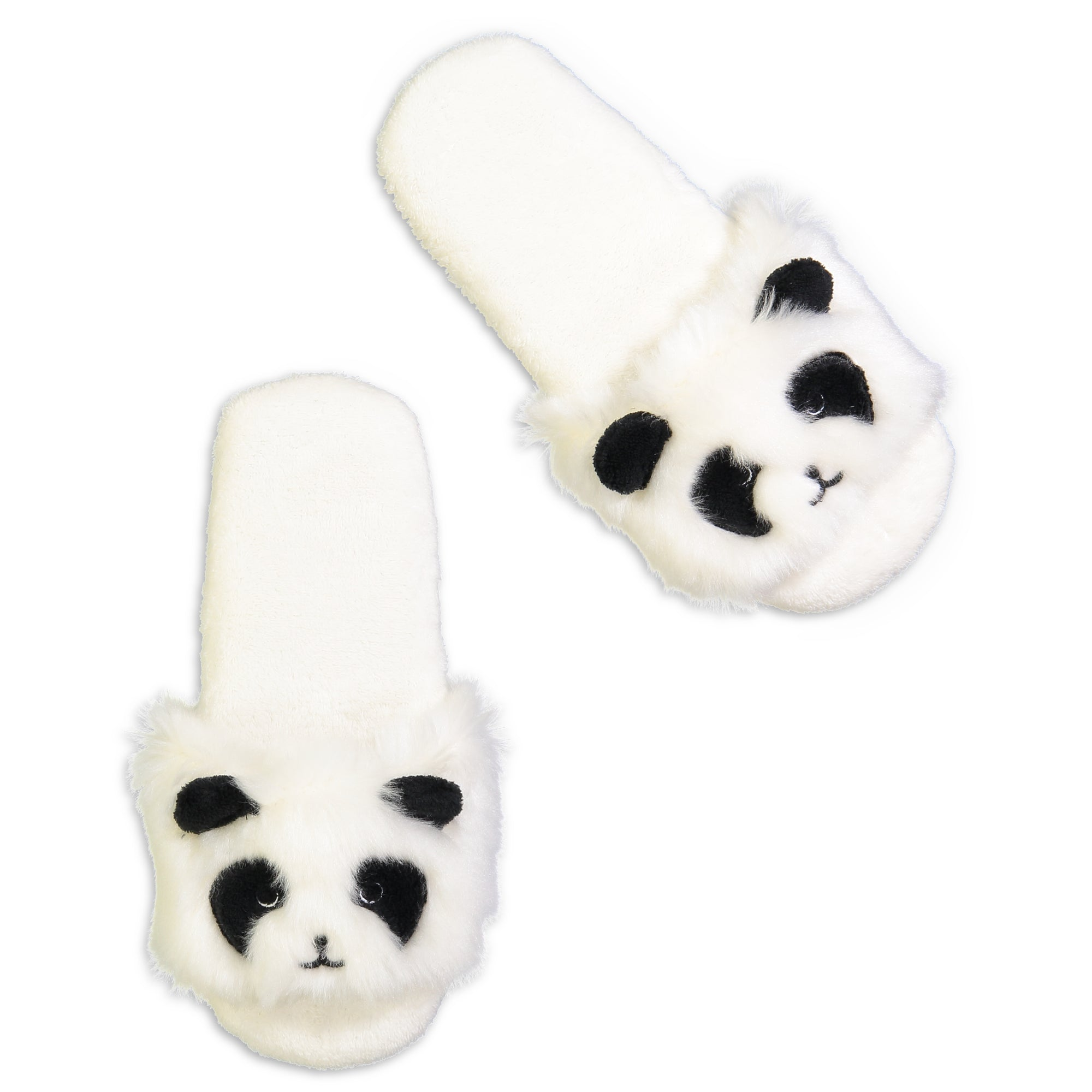 Women's Panda Fluffy Slides with 3D Ears