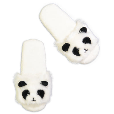 Women's Panda Fluffy Slides with 3D Ears - Fuzzy Babba
