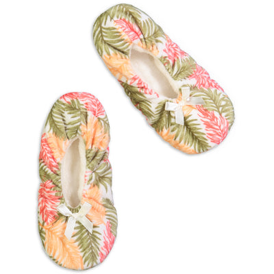 Women's Palm Leaves Print Springtime Soft Slipper - Fuzzy Babba