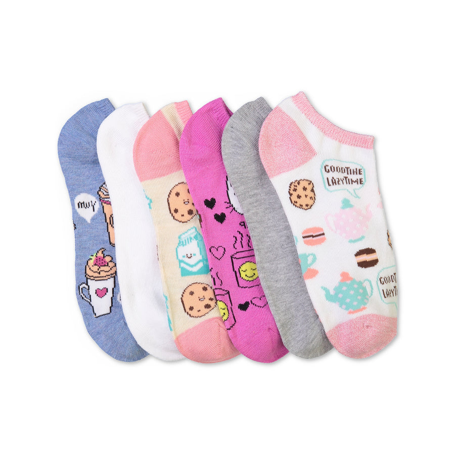 Women's 6-pack Pastel Print No-Show Socks