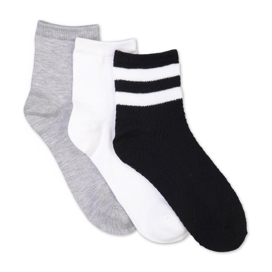 Women's 3-pack Striped Mesh Mid-Crew Socks - Fuzzy Babba