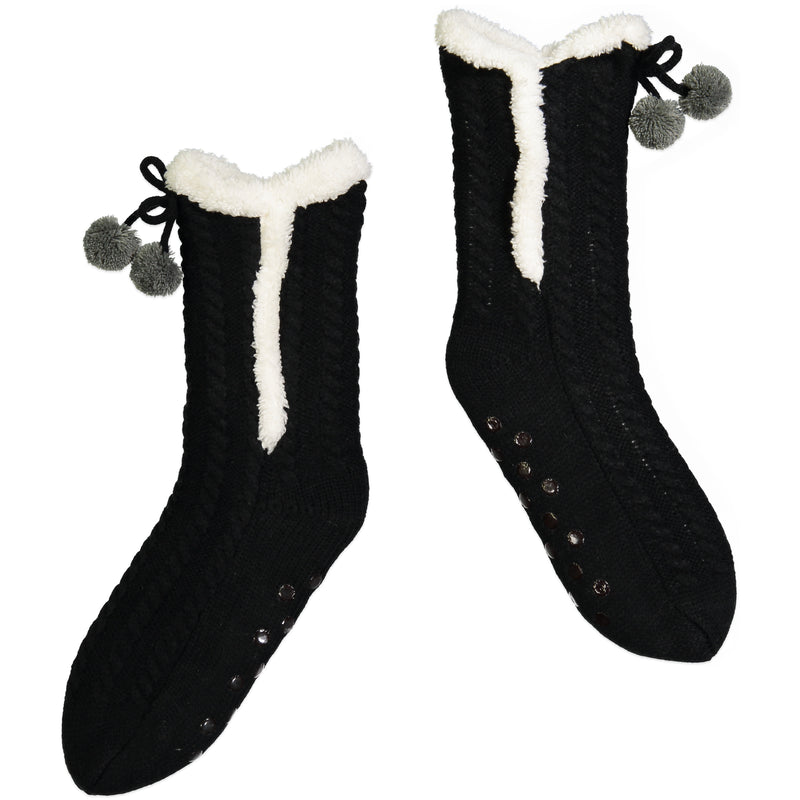 Women's Ultra-Cozy Slipper Sock with Pom-Pom Details and Sherpa Lining