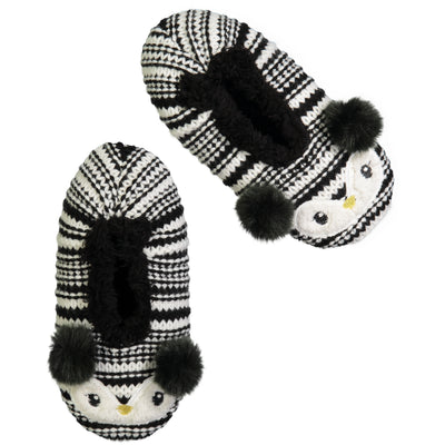 Women's Penguin Face Knit Slipper Sock with Pom-Pom Ears