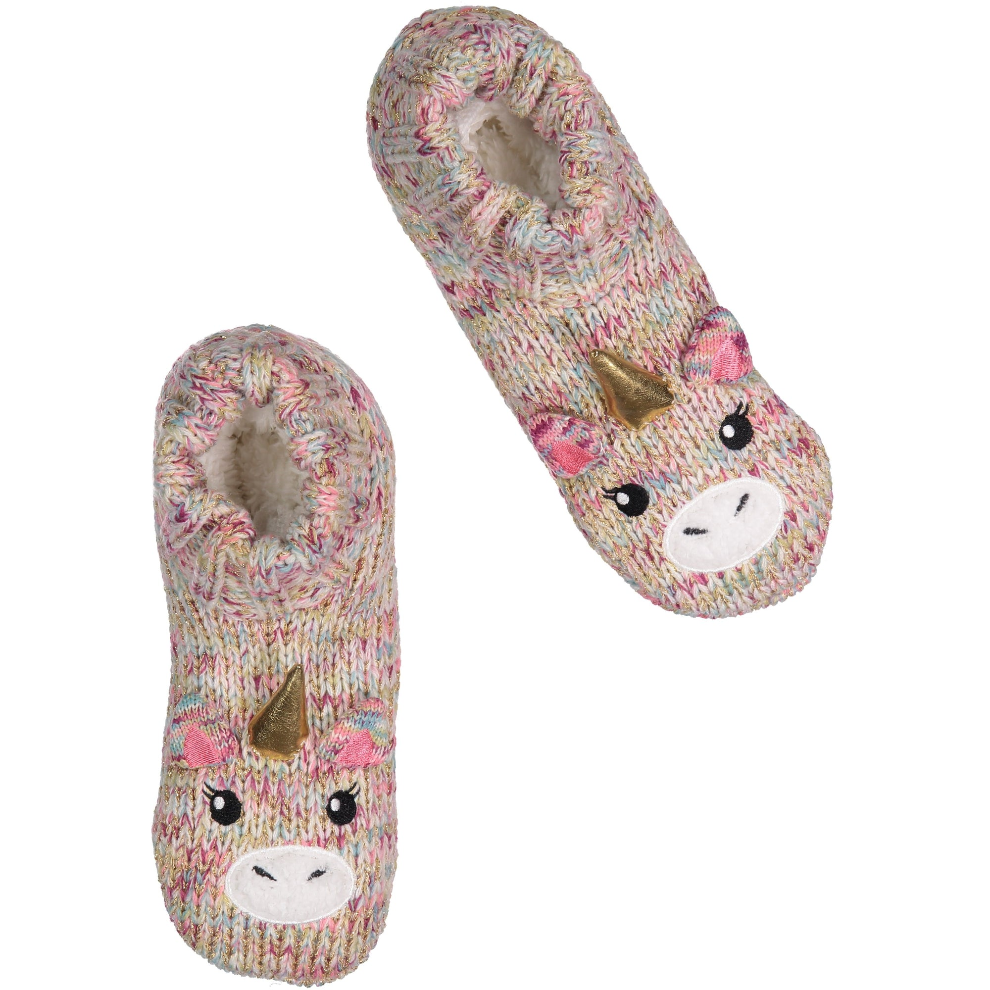 Women's Cozy Knit Slipper Socks with Unicorn Face and Sherpa Lining